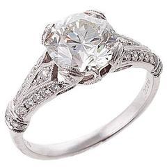EGL Certified 2.14 carat Diamond Platinum Engagement Ring