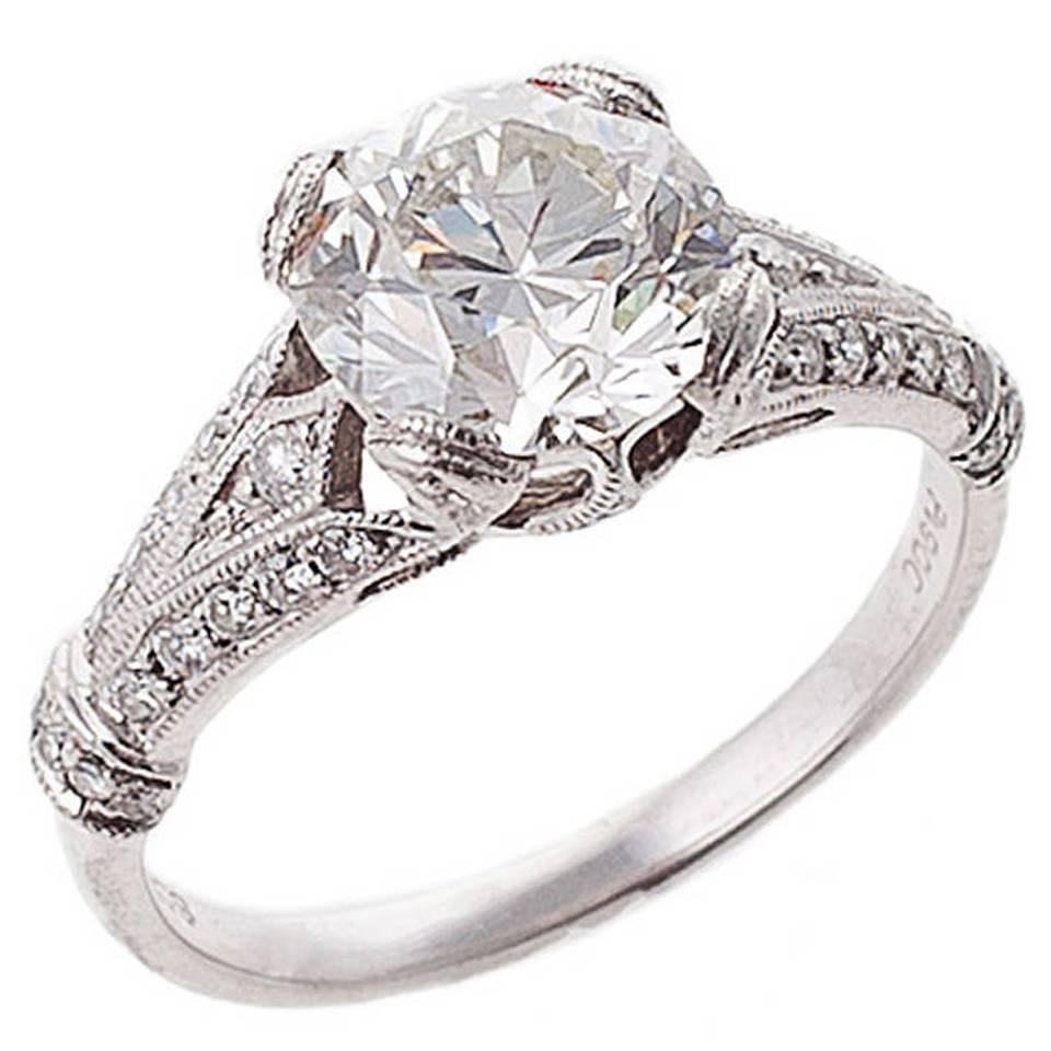 Diamond Platinum Engagement Ring For Sale At 1stdibs