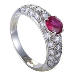 Garrard London Ruby Diamond Pave Platinum Band Ring