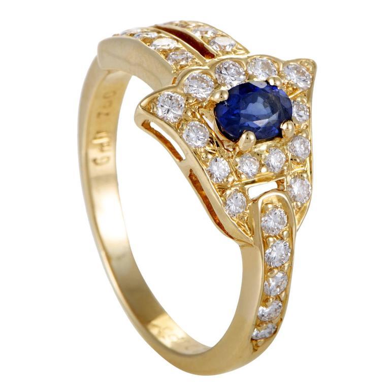 Graff Diamonds Diamond Sapphire Pave Diamond Yellow Gold Ring