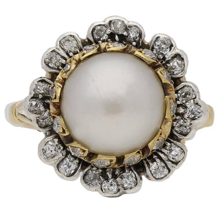 1870s Natural pearl diamond Gold floral cluster ring