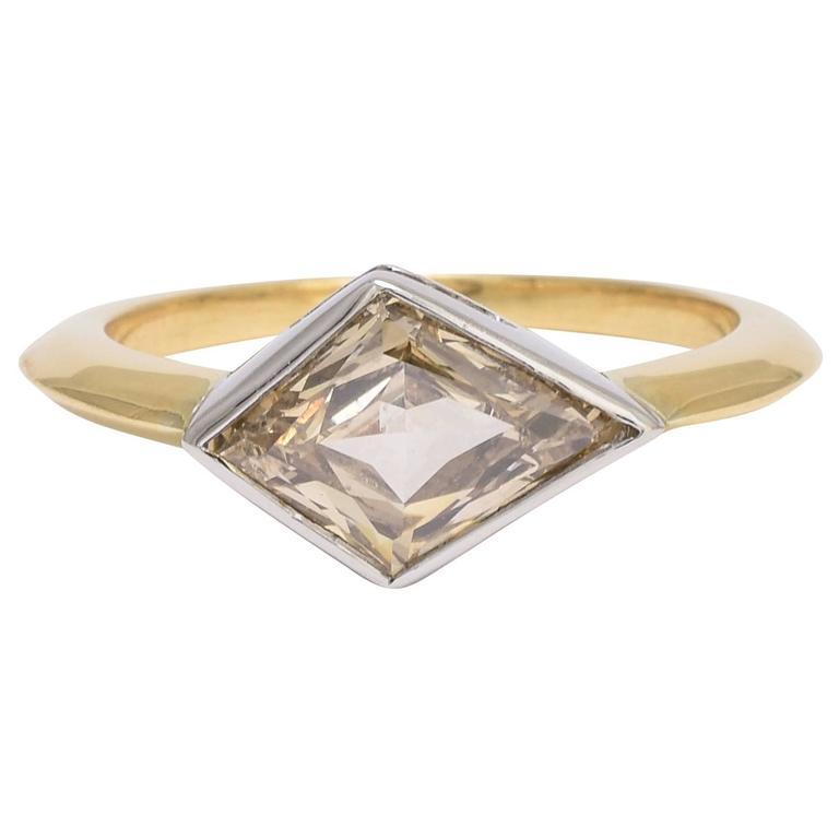 1.91 Carat Fancy Light Brown Kite Diamond Gold Ring 1