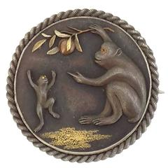 Antique Japanese Monkeys and Fruit Shakudo Brooch