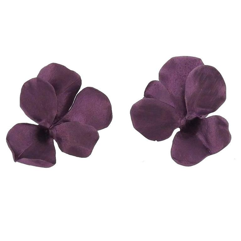 Jar Titanium Gold Purple Pansies Earrings For Sale