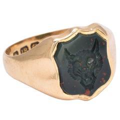 Victorian Bloodstone Wolf Intaglio Signet Ring