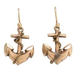 Victorian Gilt Metal Gold Wire Rope and Anchor Earrings