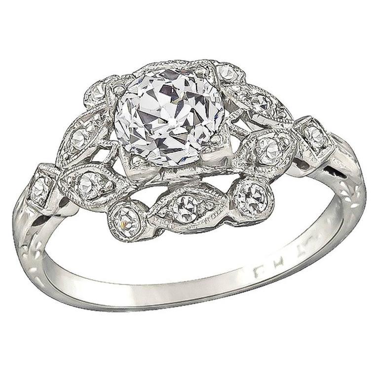 GIA 0.97 Carat Diamond Platinum Engagement Ring