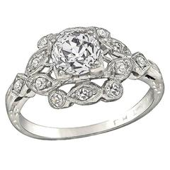 GIA 0.97 Carat Diamond Platinum Engagement Ring