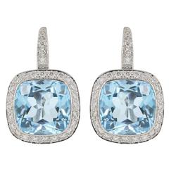 11 Carat Cushion Cut Blue Topaz Diamond gold Earrings