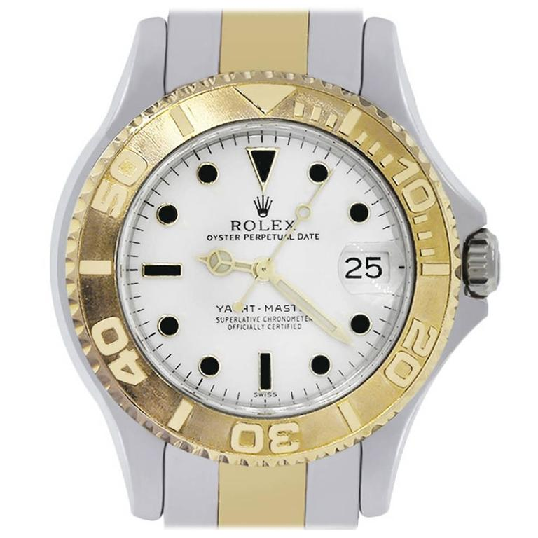 Rolex yellow gold stainless steel Midsize Yacht Master Wristwatch Ref 68623
