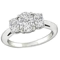 1.01 Carat Oval Cut Diamond Platinum Engagement Ring