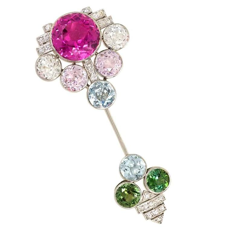 French Art Deco Diamond and Multicolored Gemstone Jabot Brooch