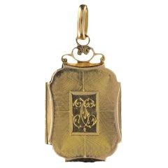 Antique gold rectangular medallion