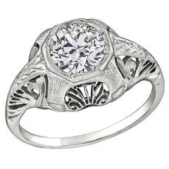 Antique 0.90 Carat Diamond GIA Certified Engagement Ring