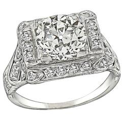 Art Deco 2.14 Diamond Platinum Engagement Ring