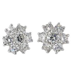 Round Diamond White Gold Cluster Earrings. Approx 4 carats total