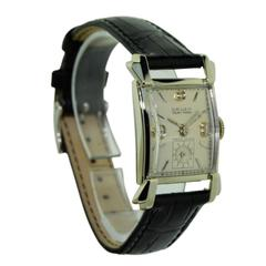 Gruen Watch Co. White Gold Original Diamond Dial Wristwatch