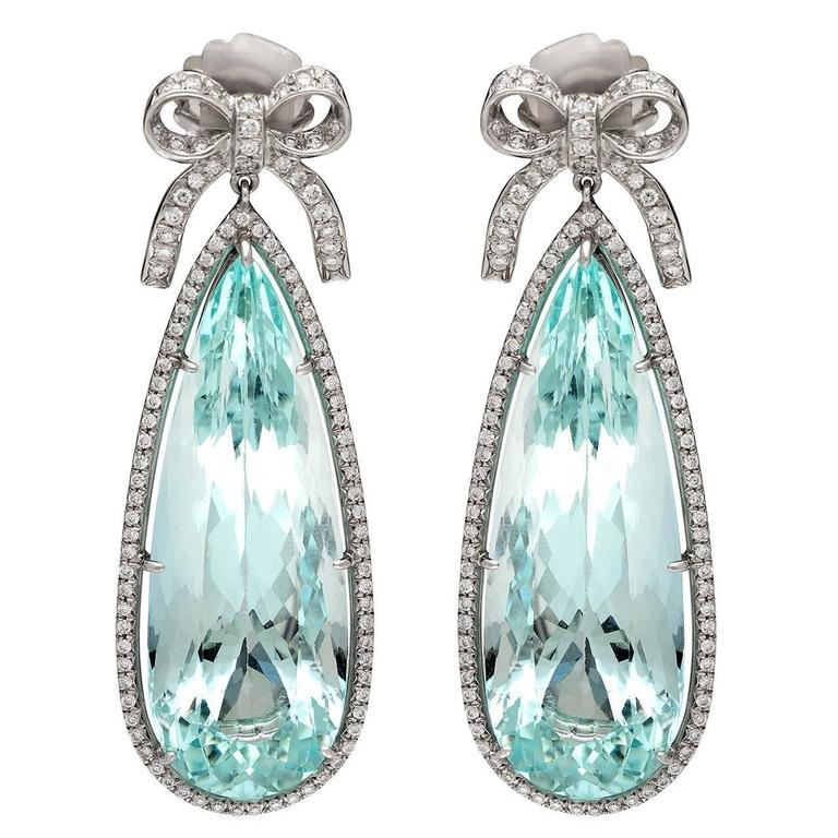 Aquamarine Diamond Platinum Pendant Earrings