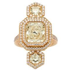 Extraordinary GIA Certified Radiant Cut Triple Yellow Diamond Gold Ring