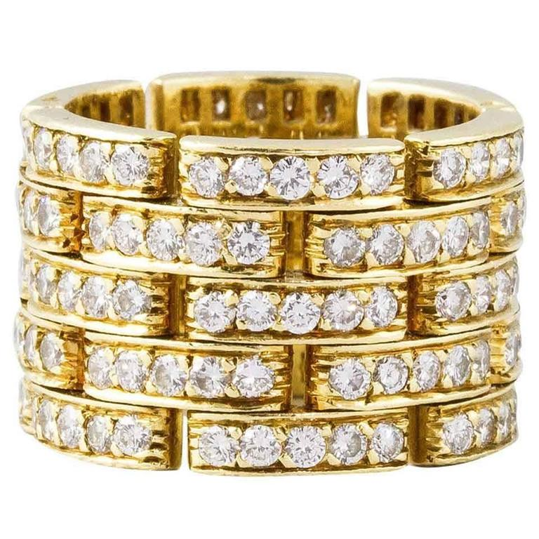 Cartier Diamond Gold Maillon Panthere Five-Row Band Ring For Sale