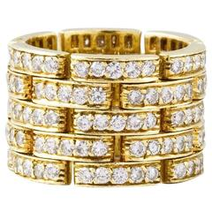 Cartier Diamond Gold Maillon Panthere 5 Row Band Ring