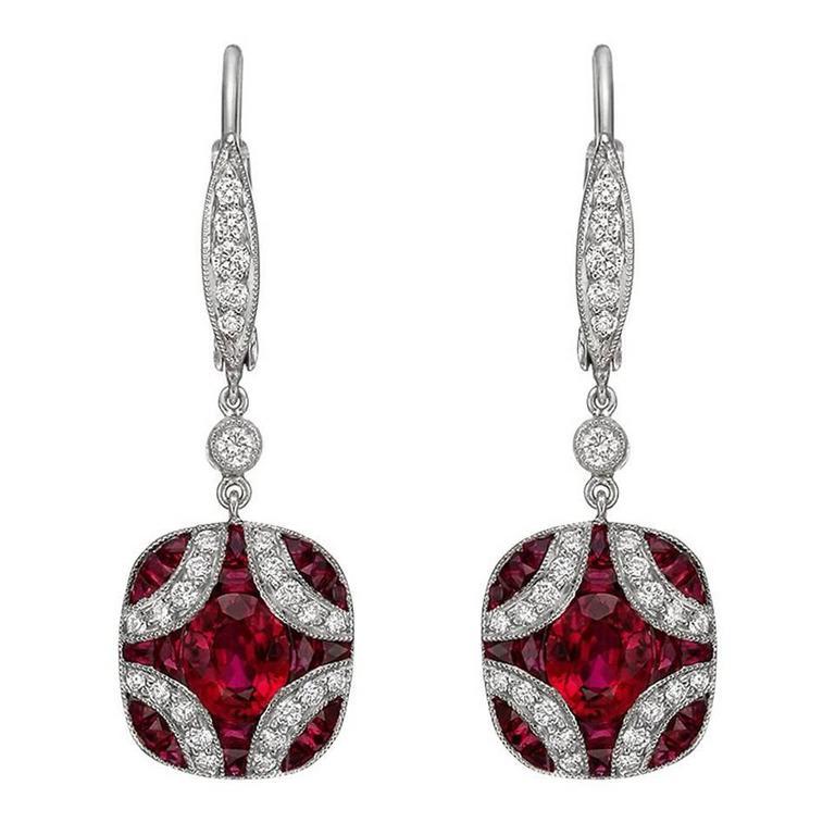 Kwiat Ruby Diamond Gold Cer Drop Earrings For