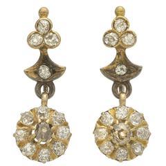 Antique Diamond Gold Cluster Drop Earrings