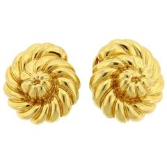 Verdura  Large  Scroll Gold Earrings