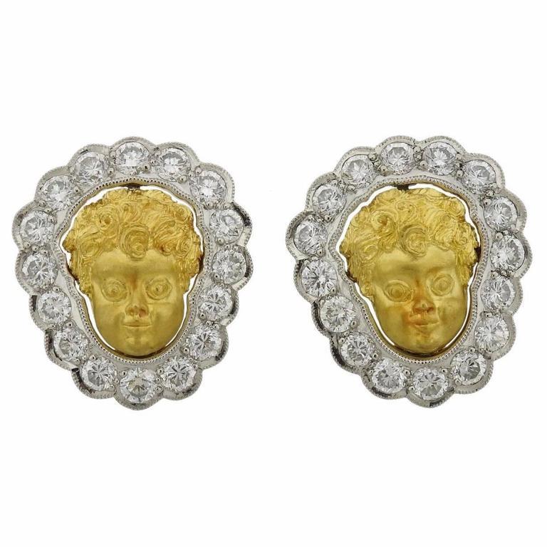 1990s Anthony Lent Putti Gold Diamond Platinum Cherub Earrings 1