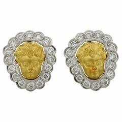 1990s Anthony Lent Putti Gold Diamond Platinum Cherub Earrings
