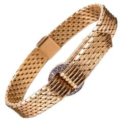 Cartier Gold Diamonds Closed Cover  Buckle Bracelet Wristwatch 1950s