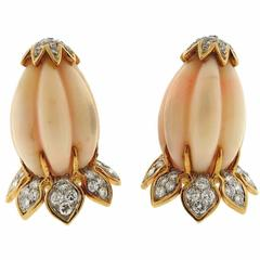 1960s Carved Coral  Diamond Gold Earrings