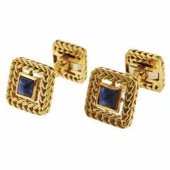 Van Cleef & Arpels VCA Paris sapphire Gold Cufflinks