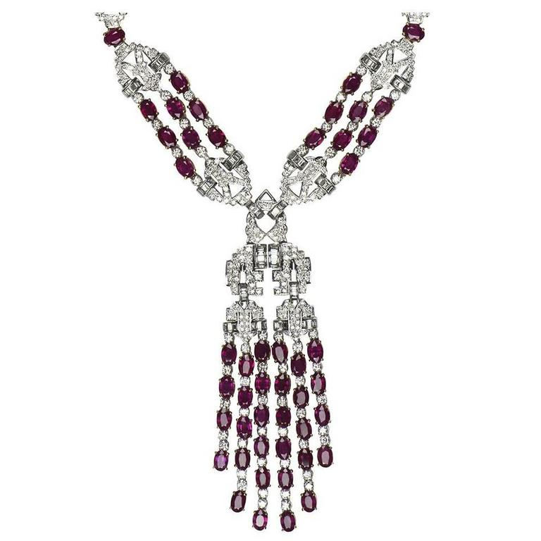 Stunning Diamond Ruby Pendant Necklace For Sale