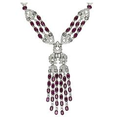 Stunning Diamond Ruby Pendant Necklace