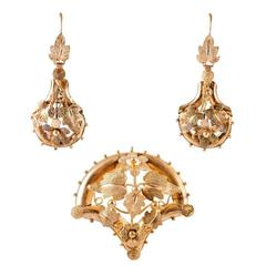 Victorian Garden Motif Gold Earrings and Pin Pendant Suite