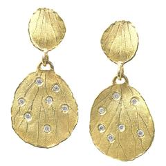 White Diamond Matte Gold Embedded Etched Petal Dangle Drop Earrings