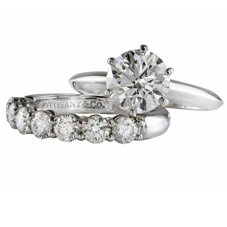 6fd71c486 Tiffany & Co.1.82 Carat Diamond GIA Engagement Ring and Diamond Band Set  For Sale