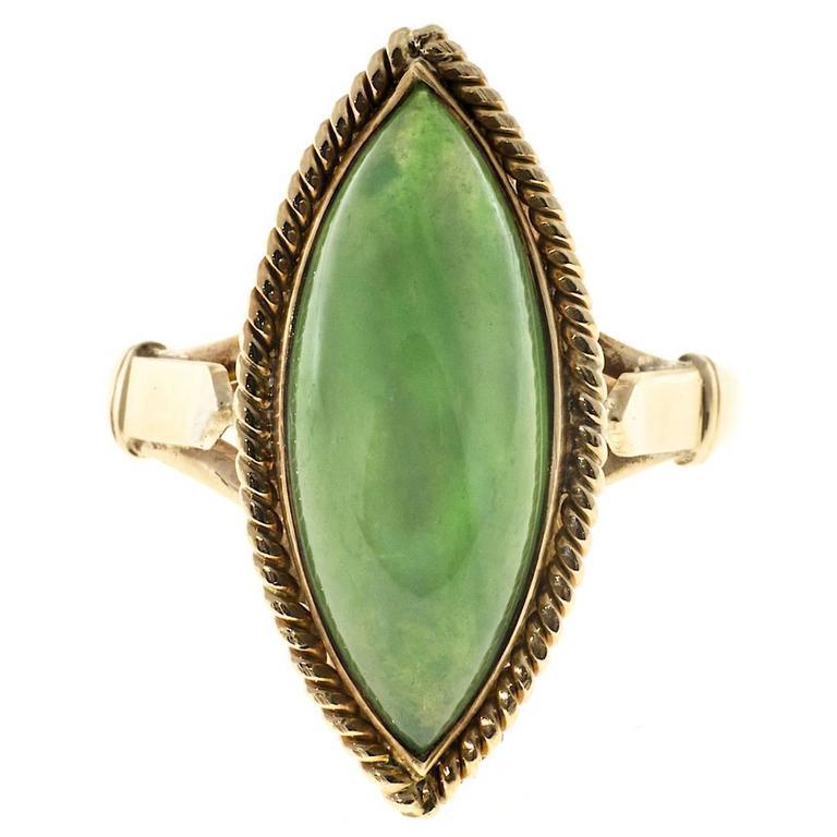 Marquise Jadeite Jade Rose Gold Ring