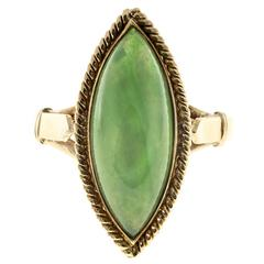 Marquise Jadeite Jade Rose Gold Ring