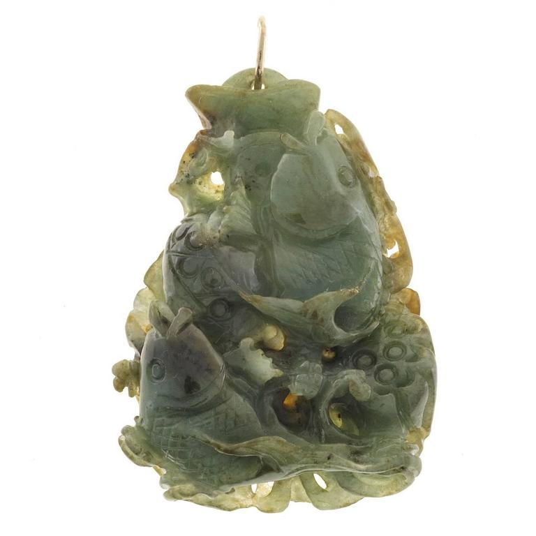 Jadeite Jade Natural Untreated Carved Fish Gold Pendant