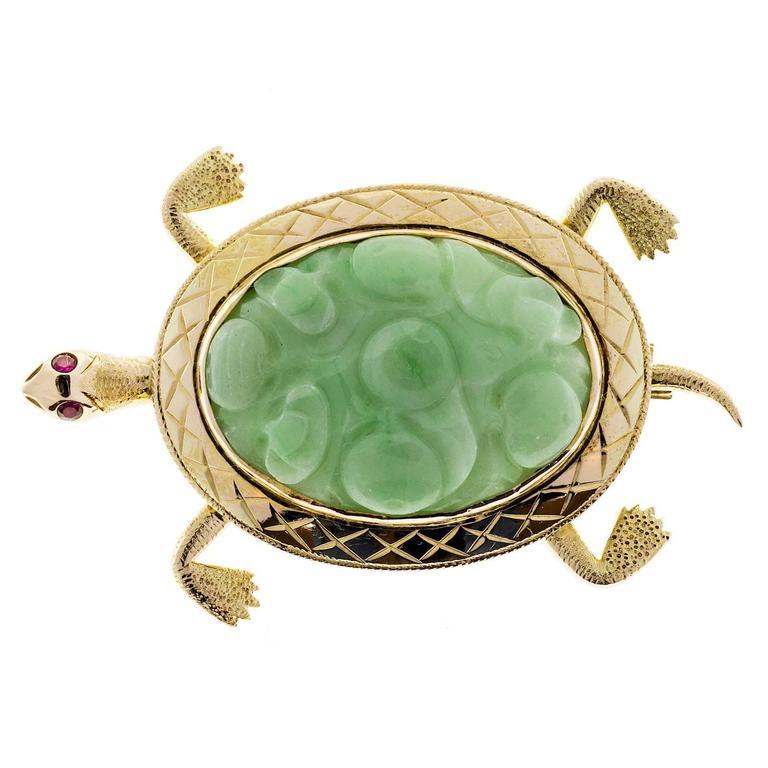 Natural Jadeite Jade Ruby Gold Turtle Brooch