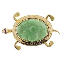 GIA Certified Natural Jadeite Jade Ruby Gold Turtle Brooch