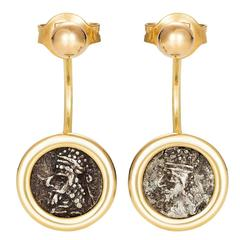 Dubini Kings of Persis Ancient Silver Coin Gold Earrings