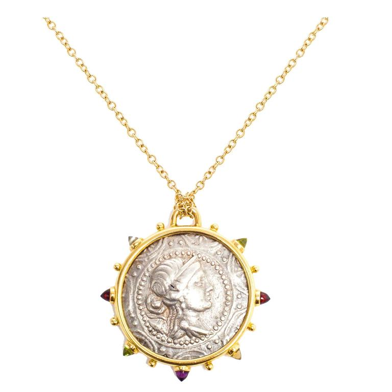 Dubini Artemis Ancient Silver Coin Medallion 18K Yellow Gold Necklace