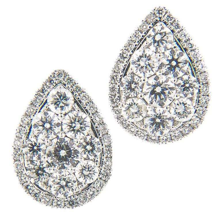 Pear Shaped Diamond Cer Gold Stud Earring For