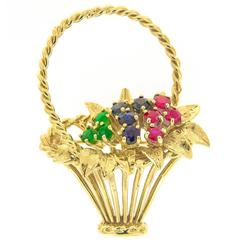 Ruby Sapphire and Emerald Flower Basket Gold Brooch