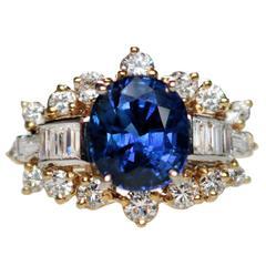 Oval Sapphire Diamond Gold Ring