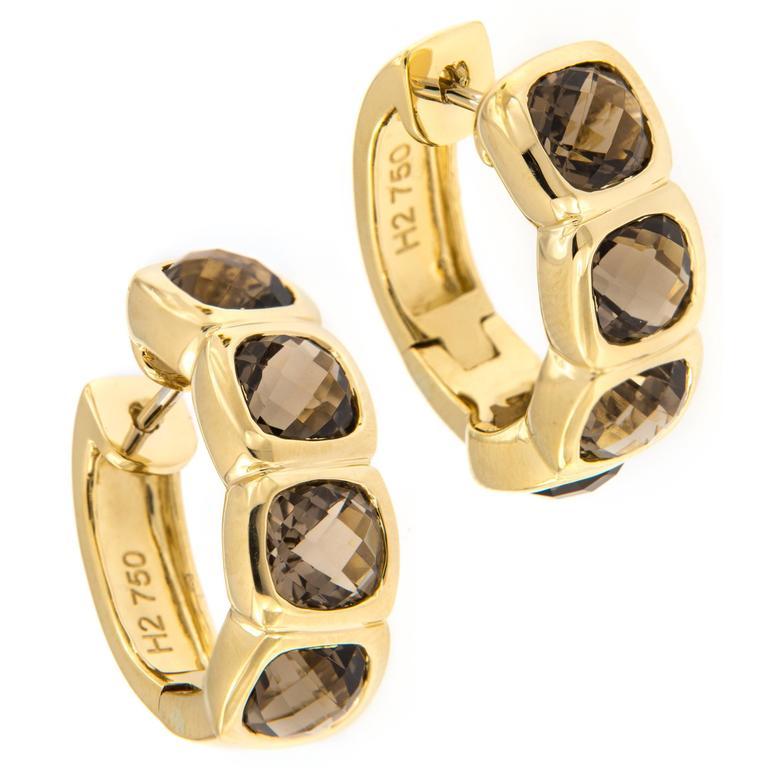 Hammerman Smoky Topaz Gold Earrings For Sale