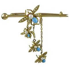 Antique Gold Mother Bee and 3 little bees Pin
